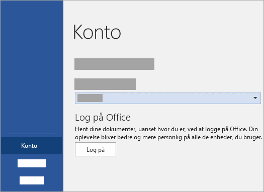 Log på med din Microsoft-Account eller Office 365-arbejds- eller skolekonto.