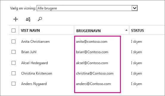 Kolonnen Brugernavn i Office 365 Administration.