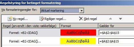 Regler for betinget formatering