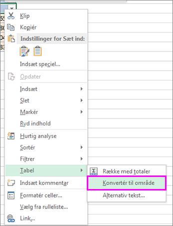 konvertere et tabelformat til et område