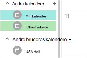 iCloud-kalender, der vises under andre kalendere i Outlook til internettet