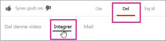 Klik på Del > Integrer