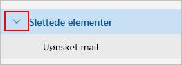 Skærmbillede, der viser udvide slettet post-mappe.