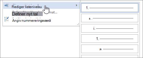 Rediger listeniveau på opstillinger med punkttegn eller tal