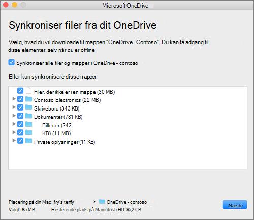 Skærmbillede af menuen OneDrive til at vælge, hvilke mapper eller filer der skal synkroniseres.