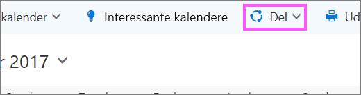 Et skærmbillede af knappen Del