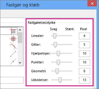 Skyderne Fastgørelsesstyrke i Fastgør og klæb i Visio 2016