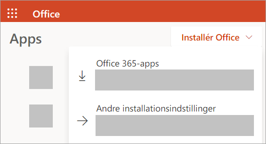 Skærmbillede af Office.com, hvis du logger på med en arbejds- eller skolekonto