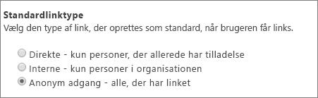 Dialogboksen Standardkædetype