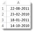 Usorterede datoer i et regneark