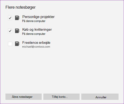 Skærmbillede af vinduet flere notesbøger i OneNote