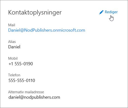 Ruden Kontaktoplysninger med et håndikon, der peger på linket Rediger.