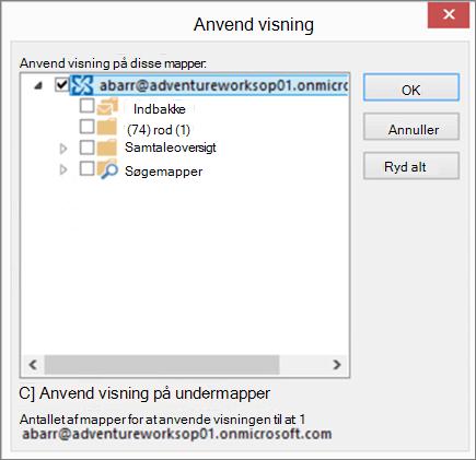 Skærmbillede af dialogboksen Anvend visning i Outlook, hvor du kan vælge de mapper, som du vil anvende visningen af en anden mappe. Anvende en visning, der deaktiverer læseruden.