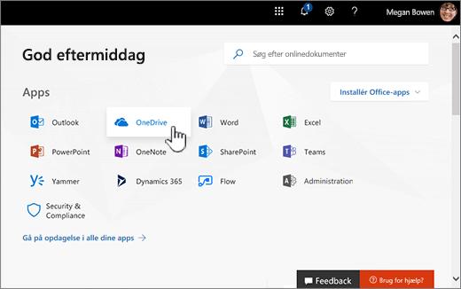 Office 365 startskærm med OneDrive Vælg