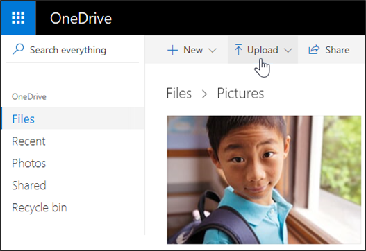 Upload filer eller billeder i OneDrive
