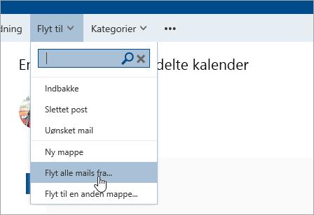 Et skærmbillede af indstillingen Flyt alle mails fra