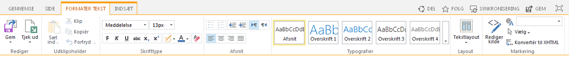 Skærmbillede af fanen Formatér tekst, som indeholder flere knapper til at formatere tekst