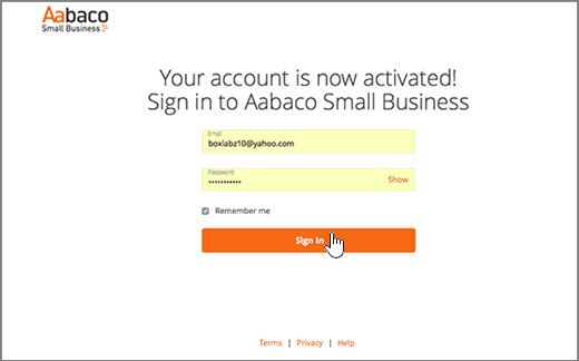 Siden Log på for Aabaco Small Business