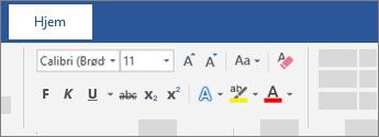 Tekstformateringsindstillinger på båndet i Word
