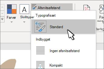 Standardindstilling under typografisæt valgt