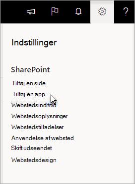 """Menuen Indstillinger med """"Tilføj en app"""" fremhævet"""