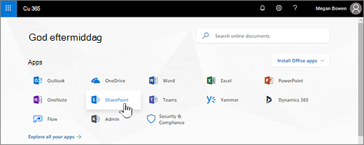 Office 365-startside med SharePoint er valgt