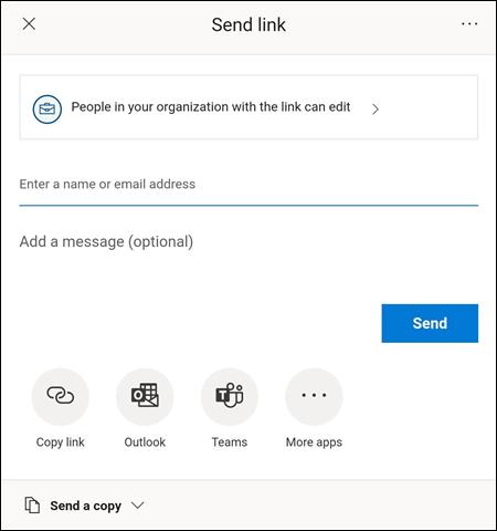Menuen Send link hjælper dig med at invitere andre til at få adgang til din fil.