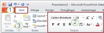 Et eksempel på båndet i PowerPoint. Elementer.