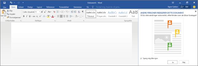 Word viser, om der er andre, der redigerer et dokument