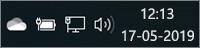 Hvidt OneDrive-ikon på proceslinjen