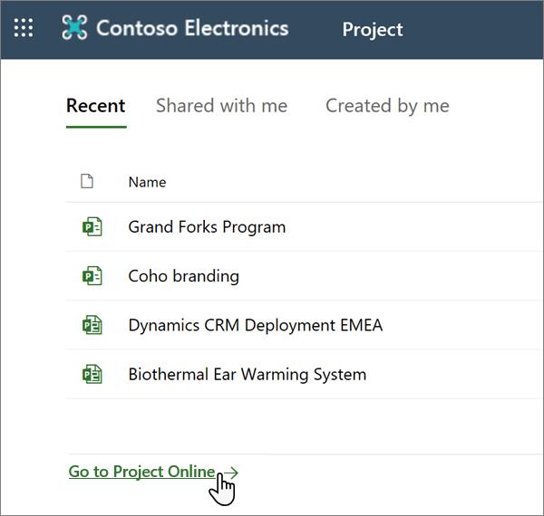 """Indstillingen """"gå til Project Web App"""" i Project"""