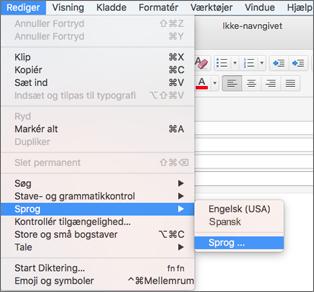 Outlook 2016 til Mac – Rediger > menuen Sprog