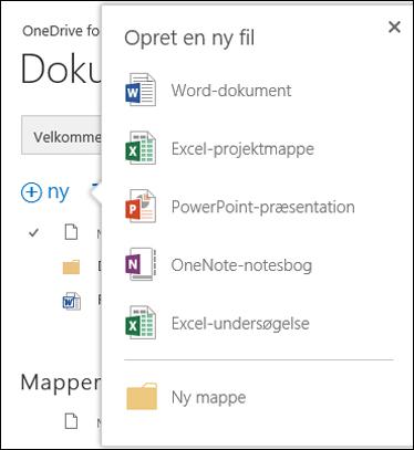 Office Online-indstillinger, som du kan bruge fra knappen Nyt i OneDrive for Business
