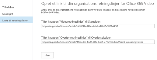 Retningslinjer for Office 365 Video