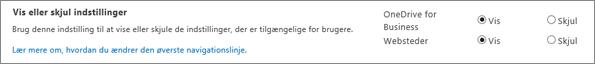 Del af indstillinger for SPO SharePoint Vis/skjul indstillinger