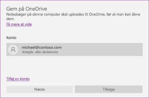 Skærmbillede af prompten Gem på OneDrive i OneNote