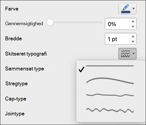 Indstillinger for stregformat i Mac med Skitseret typografi valgt