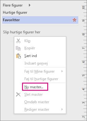 Højreklik i vinduet Figurer under listen over stencils, og klik derefter på Ny master.