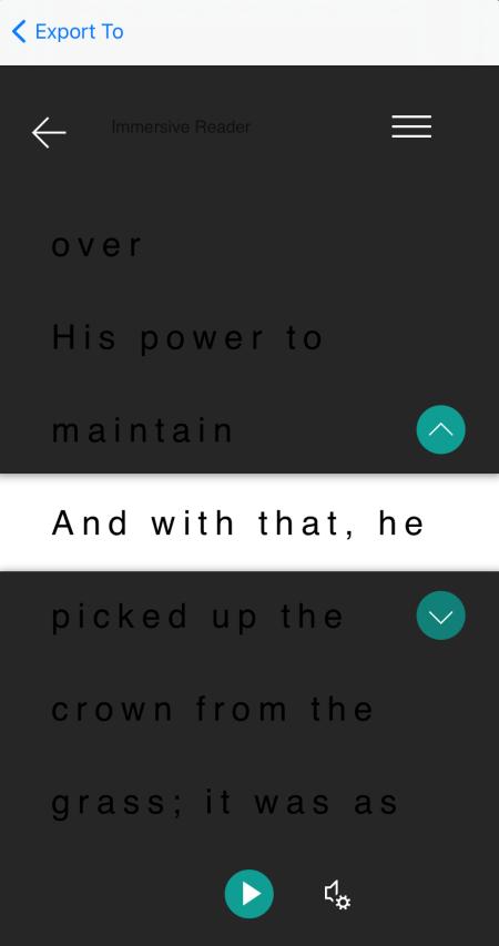 Linjefokus i Visningen Forenklet læser i Microsoft Lens til iOS.