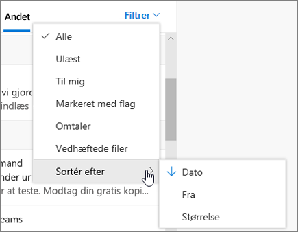 Filtrering af mail i Outlook på internettet