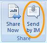 Sende et åbent Office-dokument som en vedhæftet fil til en Lync 2010-chatbesked