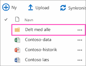 Mappen Delt med alle i OneDrive for Business