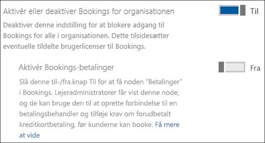 Skærmoptagelse: Viser administratorkontrolelementet Bookings på siden Tjenester og tilføjelsesprogrammer