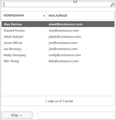 Skærmbillede: Skriv for at søge, eller vælg en bruger på listen.