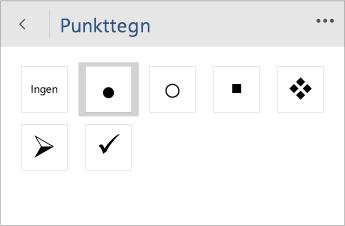 Skærmbillede af menuen Punkttegn til at vælge typografien for punkttegn i Word Mobile.
