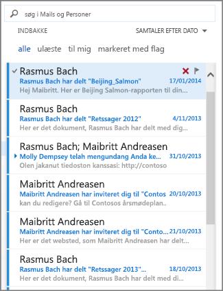 meddelelsesliste i Outlook