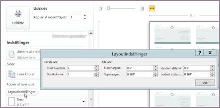 Udskrive layoutindstillinger