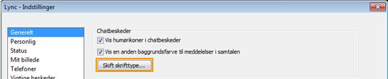 Ændre skrifttype for chatbesked