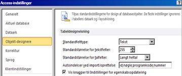 Indstillinger for design af tabeller i Access