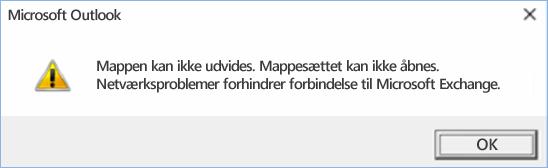 Outlook 2016-fejl – Mappen kunne ikke udvides